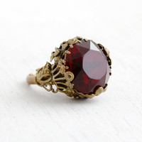 Vintage Art Deco Red Glass Stone Ring- 1930s Czech Brass Adjustable Filigree Statement Costume Jewelry