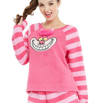 Disney Alice In Wonderland Cheshire Cat Fuzzy Girls Short Sleep Set