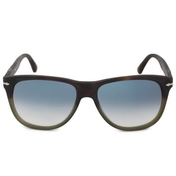 Persol Square Sunglasses PO3103S 90303F 56 | Brown and Green Frame | Blue Gradient Lenses