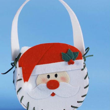 Santa Basket Christmas Hand Towel Holder - Santa Face With Green Stitching