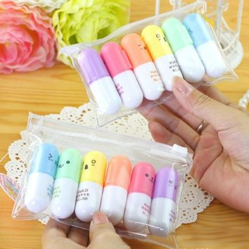 6 Pcs/lot Cute Kawaii Mini Highlighter Marker Creative Lovely Pill Shape Gel Pen for Kids Korean Stationery