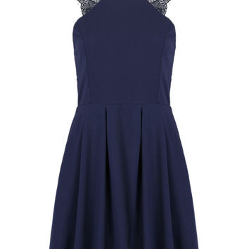 Navy Lace Panel Cut Away Pleated Skater Dress
