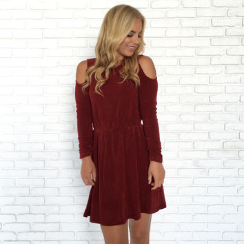Forever Dreaming Cold Shoulder Knit Dress In Burgundy