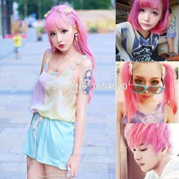ac DCCKO2Q 2017 Fashion Ladies & Men's Beauty Hair Care Permanent Light Pink Hair Dyed Frost Sunflower Wind Hair Color Sharon Hair Dyeing