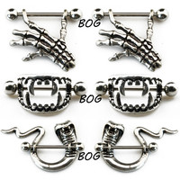 3 pairs Bite Fangs Vampire Fang Nipple Shield & Skeleton Skull Hand Nipple Ring & Snake Body Piercing Jewelry 14g