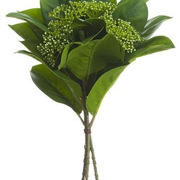"Artificial Lemon Leaf Pick with Cream Green Berries - 12.5"" Tall"