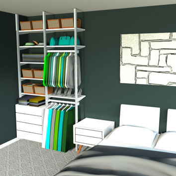 "65"" WideTwo Bay Pole Mounted Closet with 4Drawers"