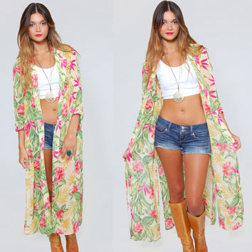Vintage 80s FLORAL Duster Tropical Print Long Top LESLIE FAY Sheer Summer Jacket