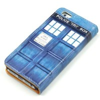 Doctor Who Tardis Blue Police Call Box Pattern Slim Wallet Card Flip Stand Leather Pouch Case Cover For Apple iphone 5
