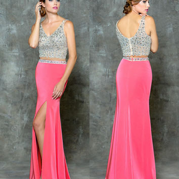 GLOW G678 Two Piece Jeweled Bust High Leg Slit Prom Evening Dress