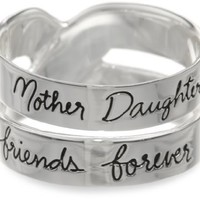 "Sterling Silver ""Mother Daughter Friends Forever"" Double Band Ring: Jewelry"