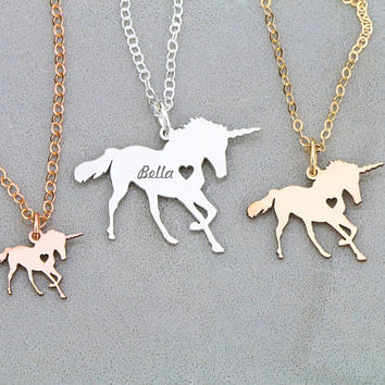 FREE SHIP • Unicorn Necklace • Magical Unicorn Jewelry • Sterling Silver Unicorn Charm Unicorn Party Rose Gold Unicorn Pendant Mystical Gift