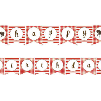 Red Cowgirl/Pony Pink and Brown Happy Birthday Banner: INSTANT DOWNLOAD
