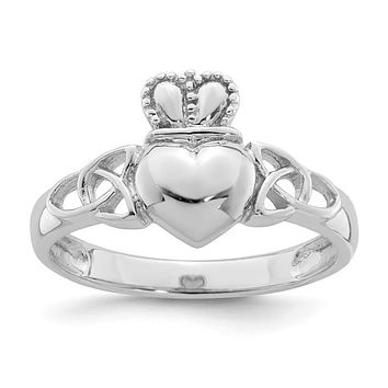 Sterling Silver Claddagh With Celtic Knots Ring