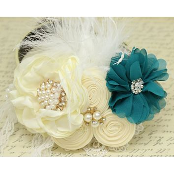 Teal blue Ivory Flower dog collar, Pearl, beaded, feather flower attached to Ivory, Champagne, Blue, White, lilac or copper leather collar