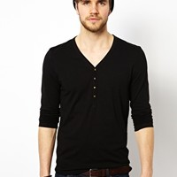ASOS Long Sleeve T-Shirt With Y Neck at asos.com