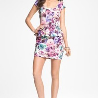 As U Wish Floral Print Peplum Dress (Juniors) | Nordstrom