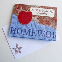 Teacher Thank You Card, End of School Year Notecard, Handmade Appreciation Card, Red and Blue, Apple for the Teacher