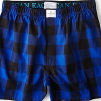 AEO Men's Plaid Boxer (Cobalt Blue)