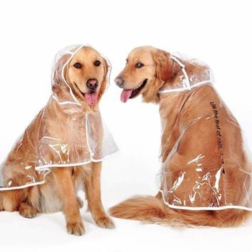 Transparent Big Dog Raincoat Rainsuit For Big Dog Waterproof Dog Pet Cat Puppy Rain Coat Jacket Clothing Golden Retriever labrado clothes