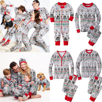 Womens Kids Girls Boys Sleepwear Nightwear Pyjamas Set 2pcs Clothing XMAS Family Matching Pajamas Set
