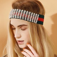 GUCCI Fashion Women Men Shiny Crystals Diamond Headband Headwrap Head Hair Band