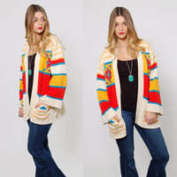 Vintage 70s SOUTHWESTERN Sweater Boho WRAP Sweater BELL Sleeve Festival Hippie Sweater Slouchy Jumper