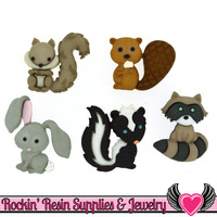 Jesse James Buttons 5 pc Backyard Buddies Skunk, Bunny, Beaver, Squirrel, and Racoon Buttons