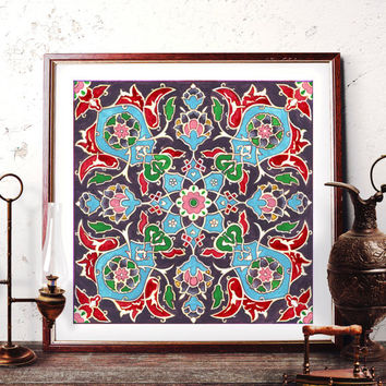 Traditional Tile Wall Art, Ottoman Floral Watercolor Painting, Mosque Tile Design Home Decor, Istanbul Art Prints and Original Painting 029