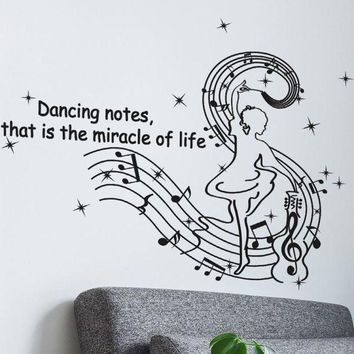 MDIGYN5 Dancing Musical Notes Wall Stickers Creative wall stickers home decor living room stickers muraux pegatinas de pared