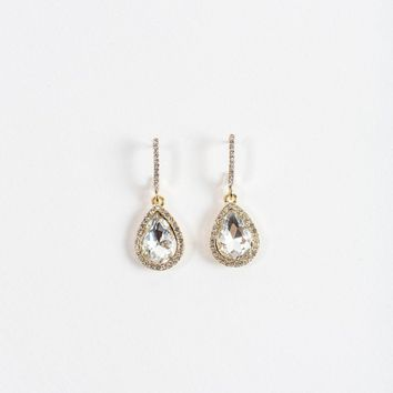 Karen Crystal Teardrop Hoop Earrings
