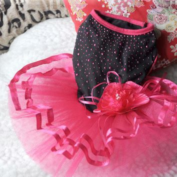 Cute Pet Dog Dress Bling Bling Tutu Lace Dress Cat Princess Clothes Flower Supplies
