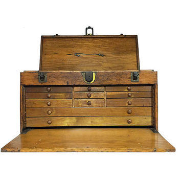 antique oak tool chest large wooden from chapsandrascal on etsy. Black Bedroom Furniture Sets. Home Design Ideas