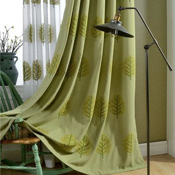New Cotton Linen Home Curtain Tulle Thick Cloth Fabric Green Tree Embroidered Blackout Diy Sewing Living Room Window Screen