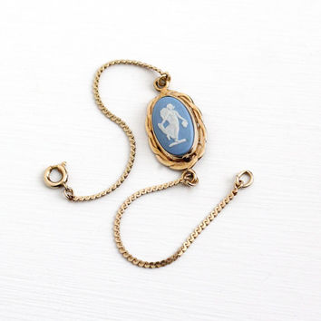 Vintage 12k Yellow Gold Filled Wedgwood Cameo Bracelet - Retro English Oval Blue & White Jasperware NeoClassical Goddess Nymph Jewelry