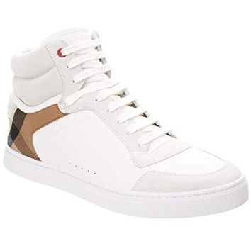 BURBERRY Reeth Leather & House Check High-Top Sneaker, 41.5, White