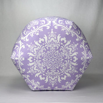 "24"" Wide by 18"" Tall Floor Ottoman Pouf Wisteria & White - Damask Contemporary Lavender Lilac Modern Print"