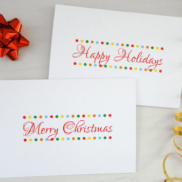 Christmas cards set Happy Holidays Merry Christmas colorful dots 2 or 4 cards