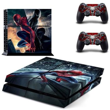 Spiderman PS 4 Vinyl Skin Sticker Cover For PS4 Playstation 4 Console + Controller Decal