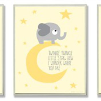 Twinkle Twinkle Elephant and Moon Triptych Wall Plaque Set