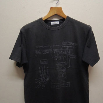 25% SALES ALERT Vintage 90's Jean Michel Basquiat T Shirt Cat Palladium Pop Art Abstract Street Graffiti Swag Top Tee Street Wear Size L