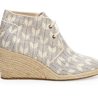 TOMS Whisper Canvas Sashiko Women's Desert Wedges Natural
