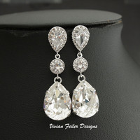 Bridal Earrings Wedding Jewelry Prom Bridesmaid Mother of the Br - Vivian Feiler Designs | Wedding
