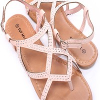 BLUSH FAUX LEATHER RHINESTONES STRAPPY THONG SANDALS
