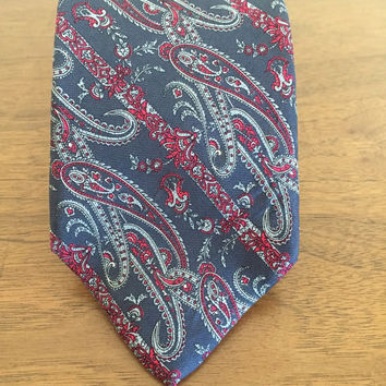 Christian Dior - Fabric Woven - Floral - Paisley- Red Blue- 1990 - 100% Silk - Made in USA - Italy