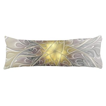 Flourish With Gold Modern Abstract Fractal Flower Body Pillow