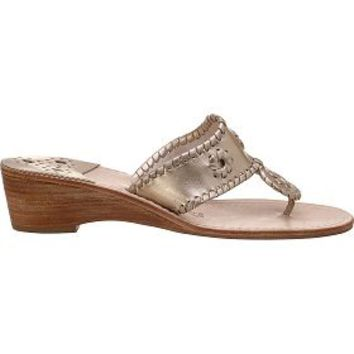 Jack Rogers Navajo Mid Wedge Platinum Leather - Jildor Shoes, Since 1949