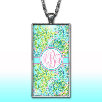 Blue Ocean Pastels Monogram Pendant Charm Necklace Sea Foam Seaweed Mint Personalized Custom Initial Necklace Monogram Jewelry