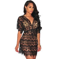Sexy Women Beach Short Dress  Summer Black White Short Sleeve Lace Stitch Mesh Hollow Out Perspective Dress
