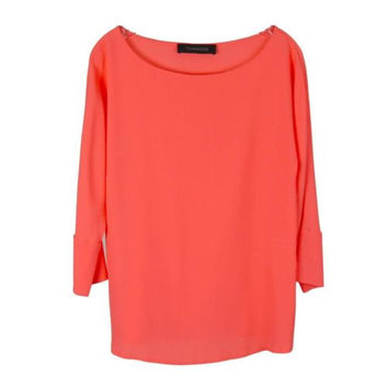 Thakoon Salmon Pink Boat Neck 3/4 Sleeve Silk Blend Top Blouse Size 8